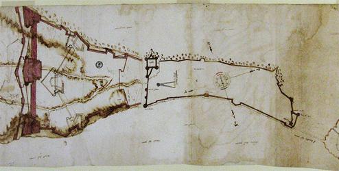 Anonimo, Pianta della città di Taranto con il progetto di fortificazioni 'alla moderna', c. 1570, dal Codice Stigliola, c. 1540-90. Napoli, Biblioteca Nazionale