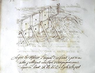 Cassiano dal Pozzo (attr.), Codice Corazza, c. 1640, apografo da Leonardo: studi in materia di ingegneria idraulica. Napoli, Biblioteca Nazionale.
